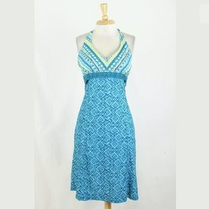 Athleta Teal Printed Pack Everywhere Sun Dress 8